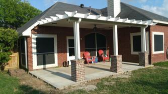 The Olivarez Decorative Metal Patio Cover With Brick Posts