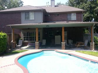 patio cover, cypress, brick posts