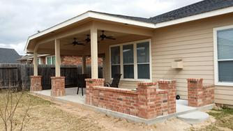 Patio Cover Baytown With Brick Flower Wall
